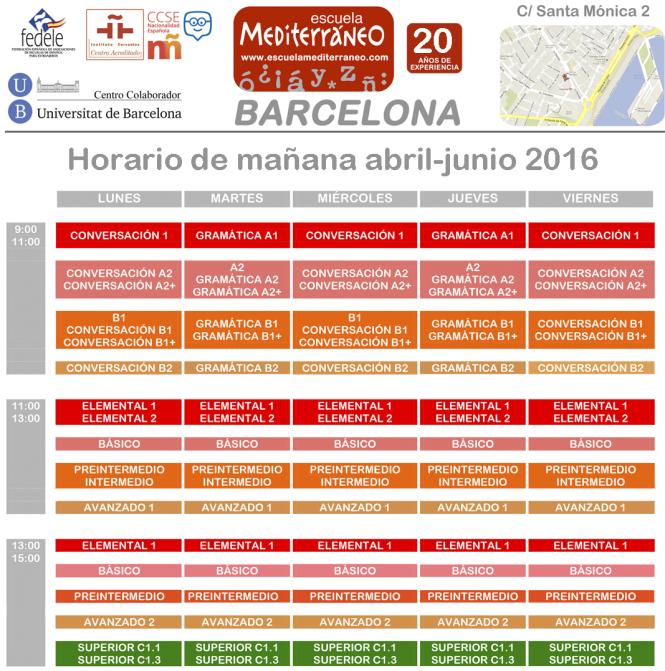 Escuela Mediterraneo Barcelona abril mañana 2016