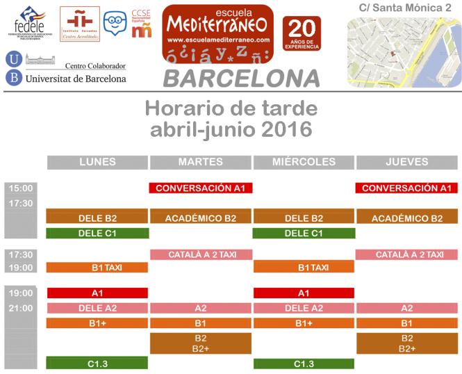 Escuela Mediterraneo Barcelona abril tarde 2016