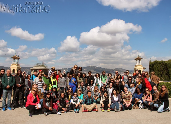 Escuela Mediterraneo Barcelona Spanish course  Picnic Montjuic