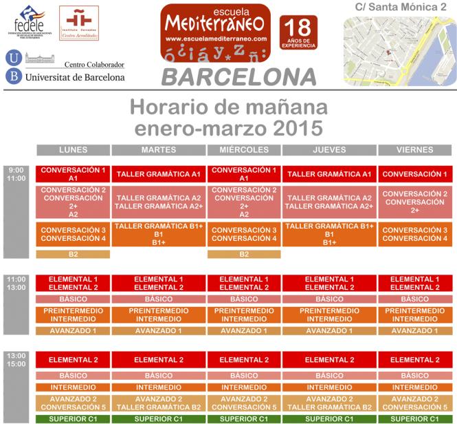 Escuela Mediterraneo Barcelona Schedule 2015 mañana