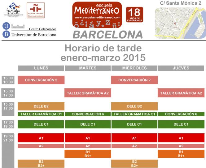 Escuela Mediterraneo Barcelona Schedule 2015 tarde